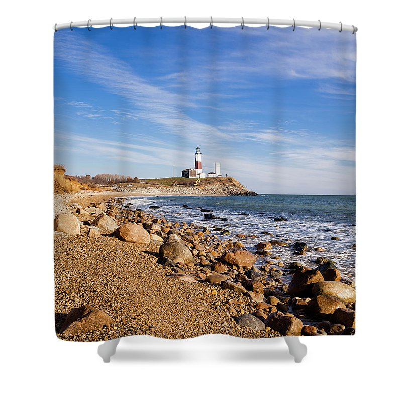 Headland Shower Curtain featuring the photograph Lighthouse At Montauk Point, Long by Alex Potemkin