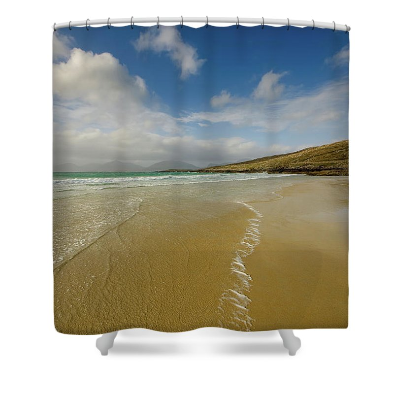 Luskentyre Beach Shower Curtain featuring the mixed media Luskentyre by Smart Aviation