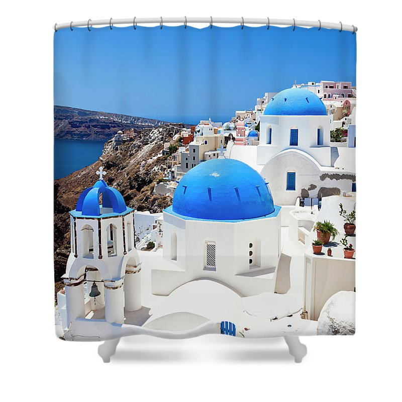 Saint George Church Shower Curtain featuring the photograph Santorini Famous Churches by Mbbirdy