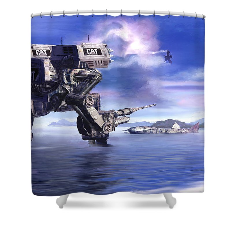 Science Fiction Shower Curtain featuring the mixed media 501st Mech Defender by Curtiss Shaffer