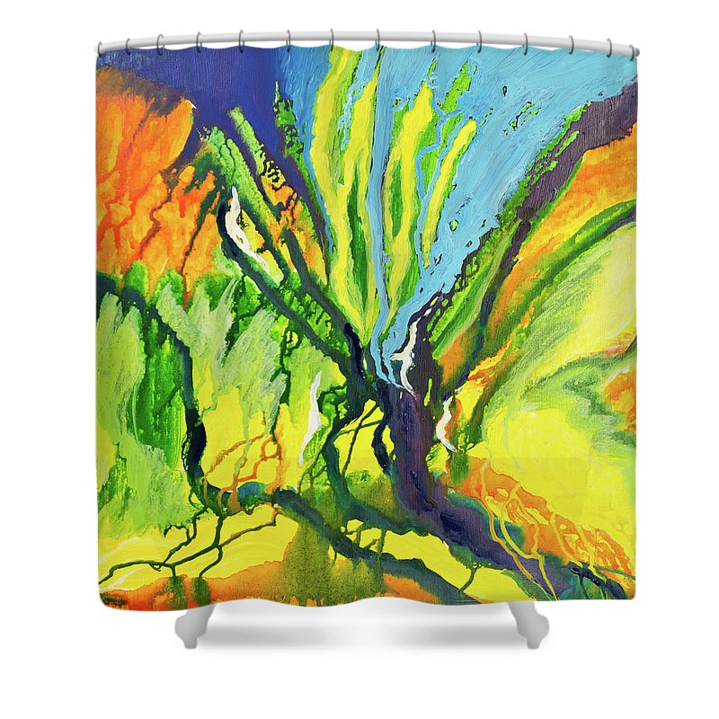 Art Shower Curtain featuring the digital art Abstract Background by Balticboy