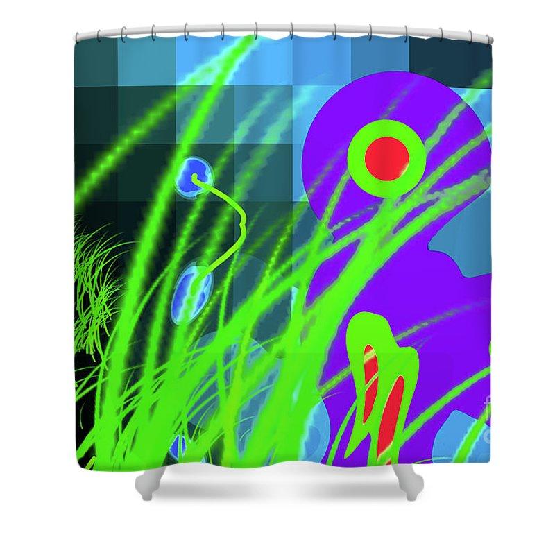 Walter Paul Bebirian: The Bebirian Art Collection Shower Curtain featuring the digital art 9-21-2009xabcdefghijklmnopqrtu by Walter Paul Bebirian