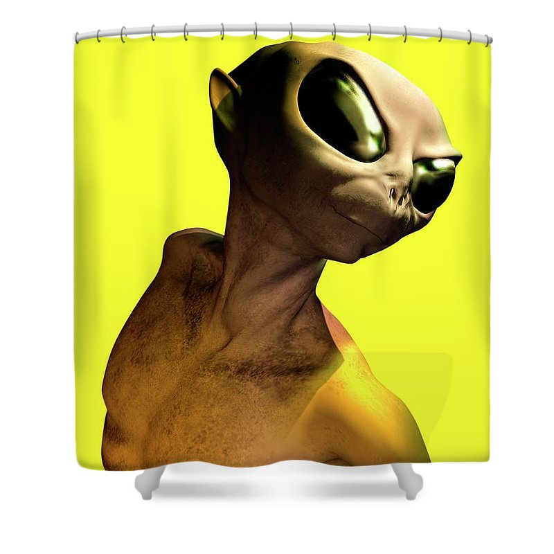 Looking Over Shoulder Shower Curtain featuring the digital art Alien, Artwork by Victor Habbick Visions