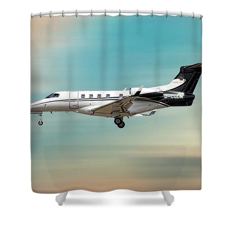 Phenom Shower Curtain featuring the mixed media Phenom 300 Arrow by Smart Aviation