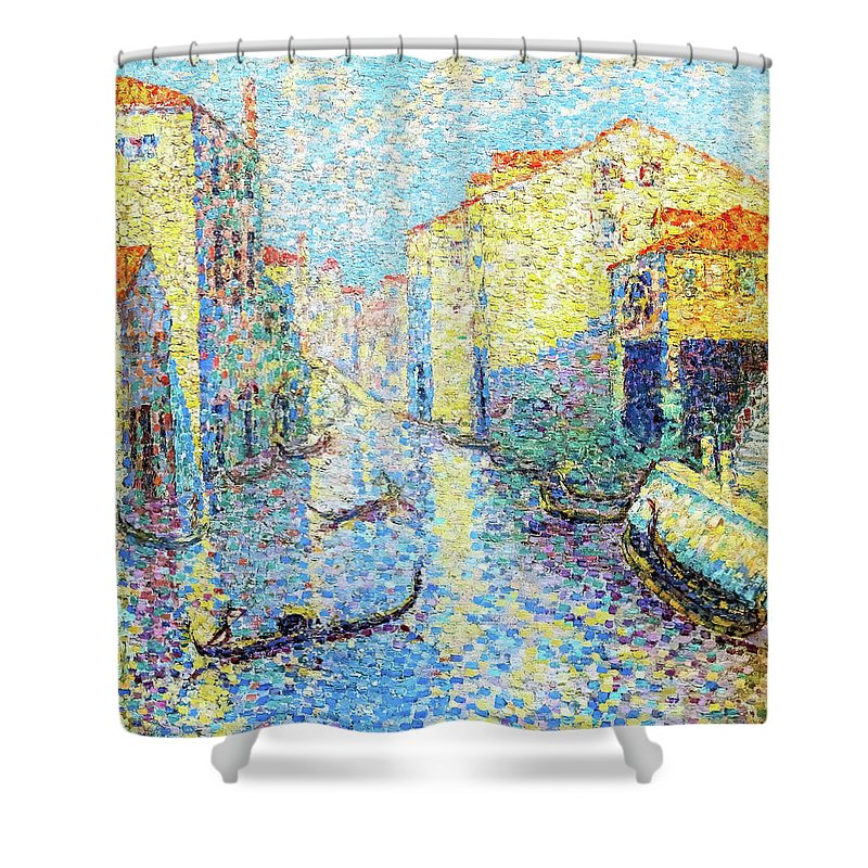 A Canal In Venice Shower Curtain featuring the painting A Canal In Venice - Digital Remastered Edition by Henri Edmond Cross