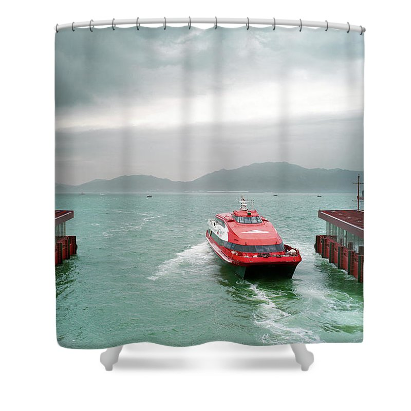 Macao Shower Curtain featuring the photograph A Catamaran Ferry Docks At A Port by Xpacifica