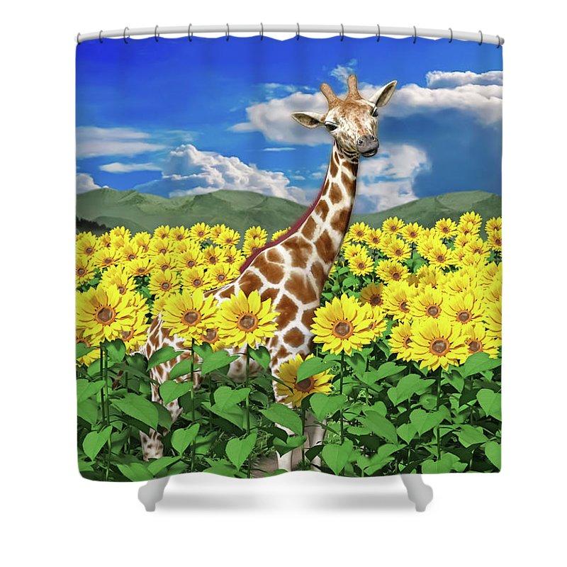 Giraffe Shower Curtain featuring the digital art A Friendly Giraffe Hello by Betsy Knapp