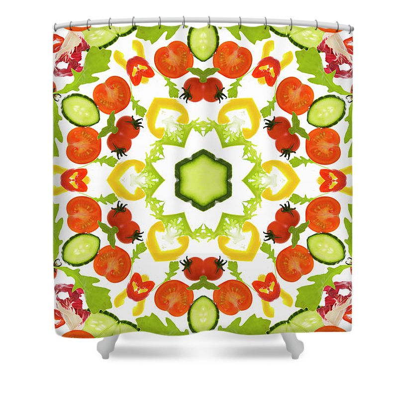 White Background Shower Curtain featuring the photograph A Kaleidoscope Image Of Salad Vegetables by Andrew Bret Wallis