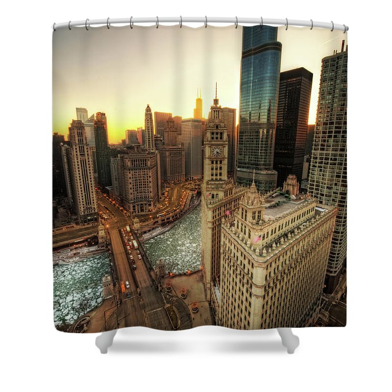 Chicago River Shower Curtain featuring the photograph A Long Sunset In The Emerald City by Justin W. Kern