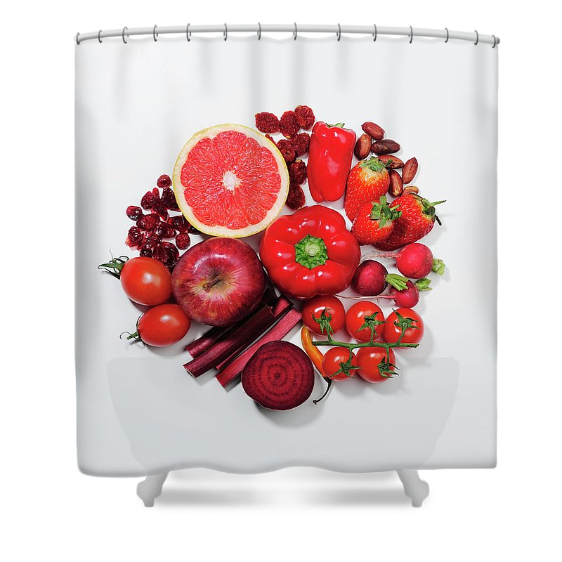White Background Shower Curtain featuring the photograph A Selection Of Red Fruits & Vegetables by David Malan