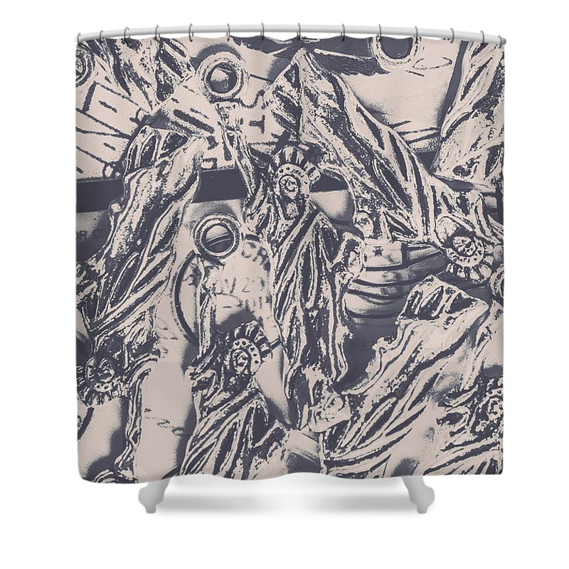Usa Shower Curtain featuring the photograph A Souvenir Of Statues by Jorgo Photography - Wall Art Gallery