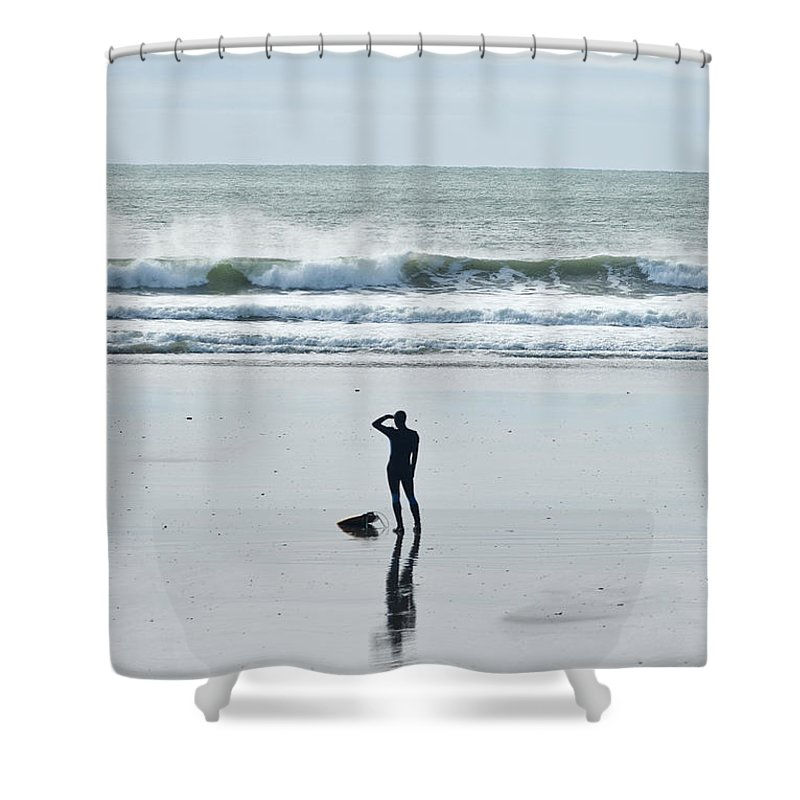 Young Men Shower Curtain featuring the photograph A Surfer Watches The Waves Before by Mark Marchesi