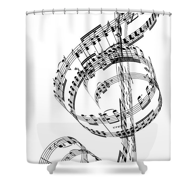 Sheet Music Shower Curtain featuring the digital art A Treble Clef Made From Beethovens by Ian Mckinnell