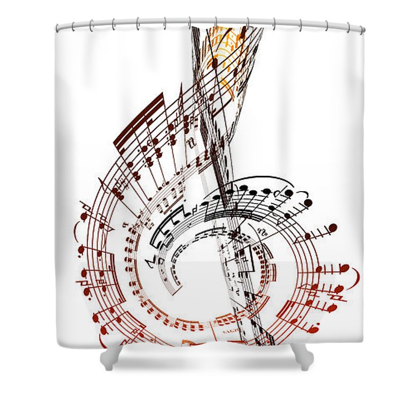 Sheet Music Shower Curtain featuring the digital art A Treble Clef Made From Sheet Music by Ian Mckinnell
