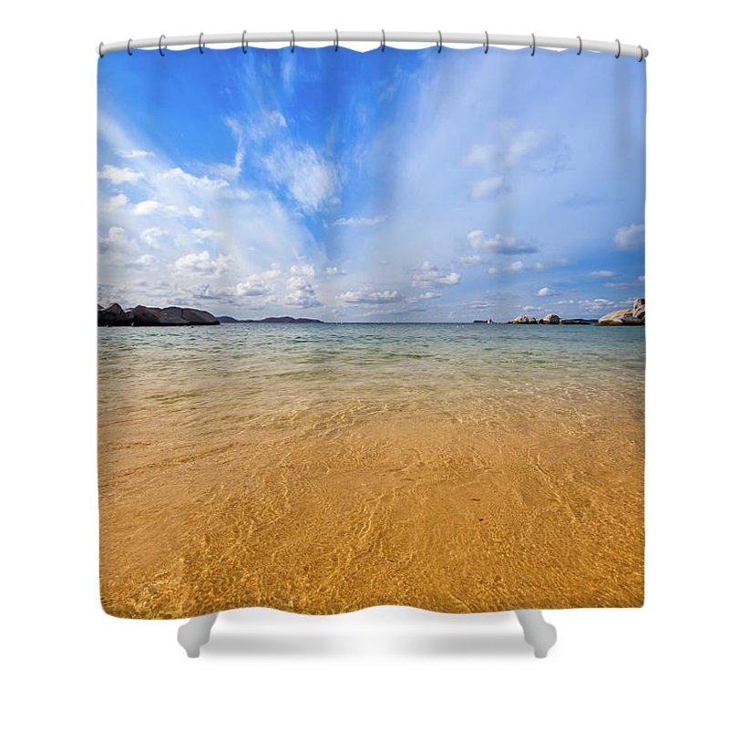 Tranquility Shower Curtain featuring the photograph A View Of The Caribbean Sea From The by Lotus Carroll