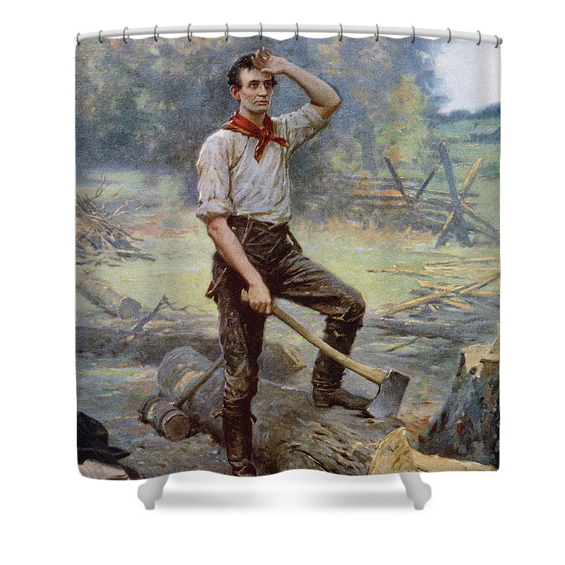 Abraham Lincoln Shower Curtain featuring the painting Abe Lincoln The Rail Splitter by War Is Hell Store