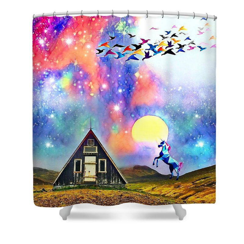 Shower Curtain featuring the digital art Abode of the Artificial-Dreamer Zero by Sureyya Dipsar