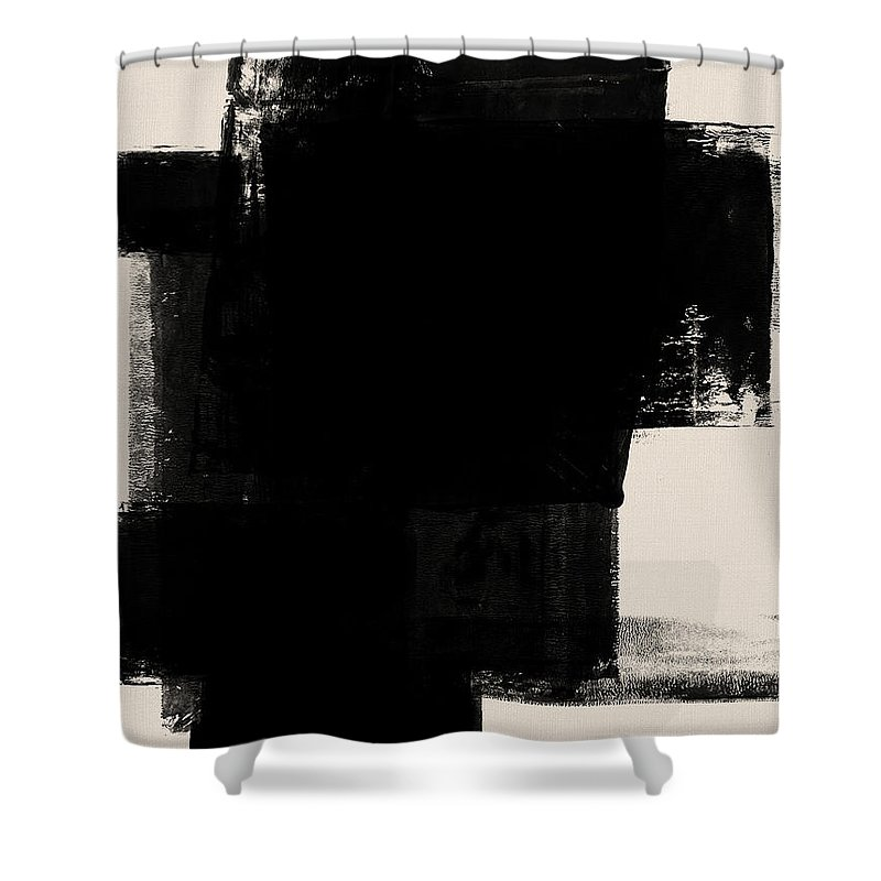 Black And White Shower Curtain featuring the mixed media Abstract Black And White No.1 by Naxart Studio