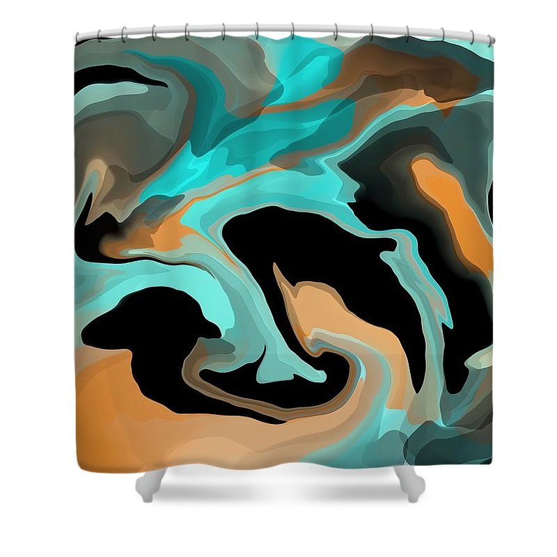Colors Shower Curtain featuring the mixed media Abstract Colors by Lisa Stanley
