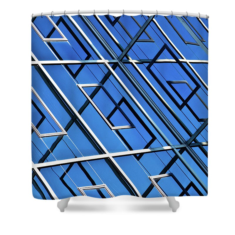 Outdoors Shower Curtain featuring the photograph Abstract Geometric Reflection by By Fabrice Geslin