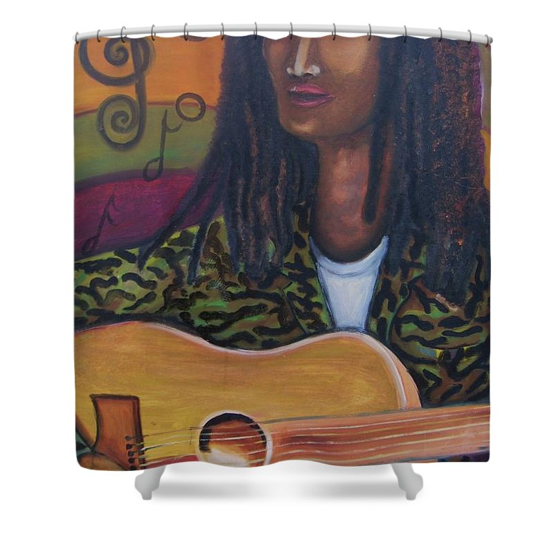 Shower Curtain featuring the painting Abstract Music by Andrew Johnson