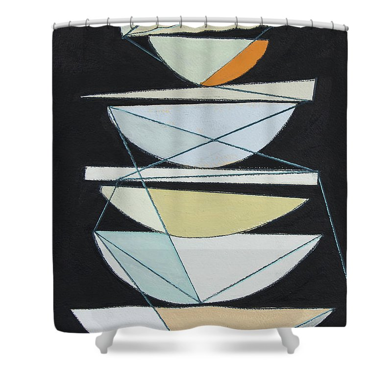 Abstract Shower Curtain featuring the painting Abstract Sails Iv by Rob Delamater