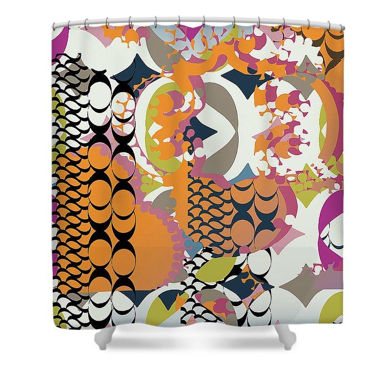 Orange Shower Curtain featuring the digital art Acorns by Ceil Diskin