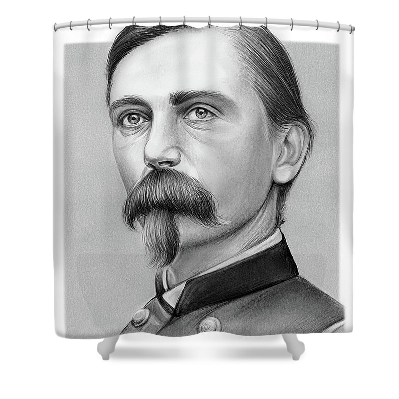 Adelbert Ames Shower Curtain featuring the drawing Adelbert Ames by Greg Joens