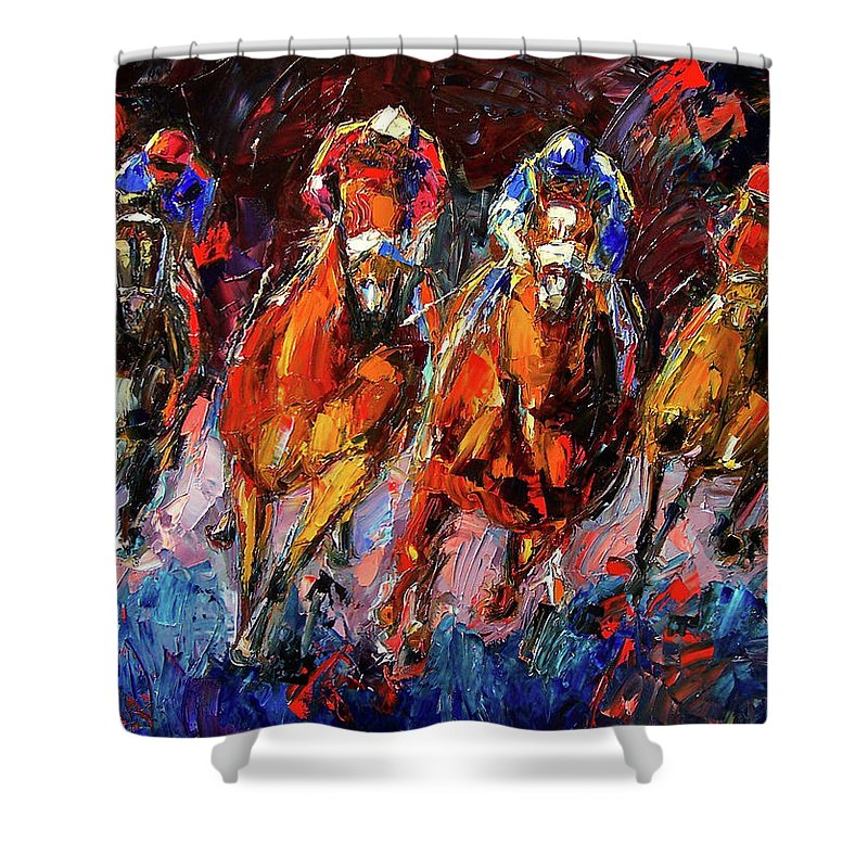Horse Race Shower Curtain featuring the painting Adrenalin by Debra Hurd