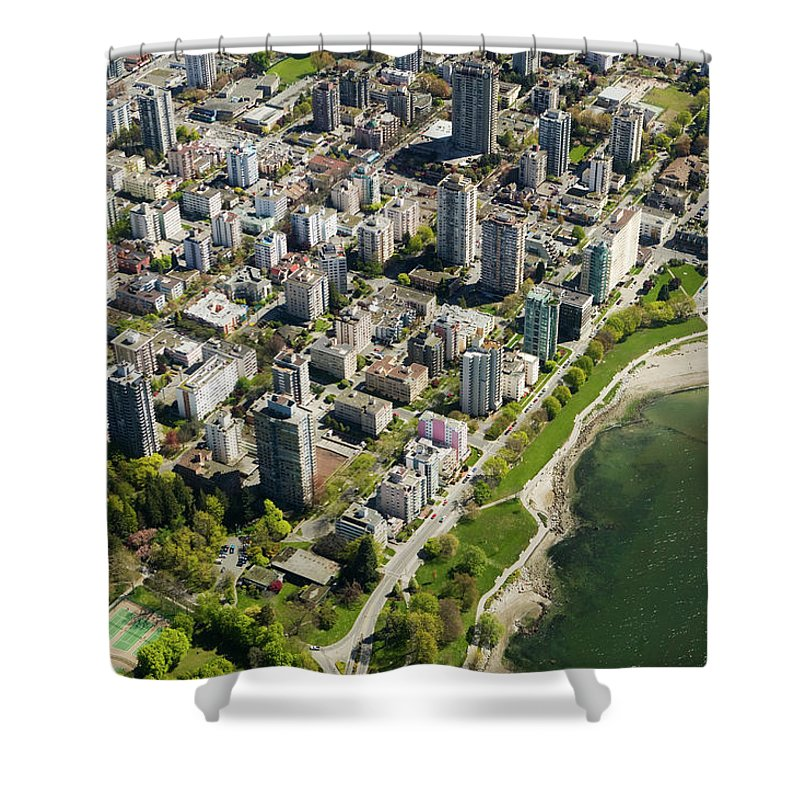 Outdoors Shower Curtain featuring the photograph Aerial Of West End, Vancouver by Lucidio Studio, Inc.