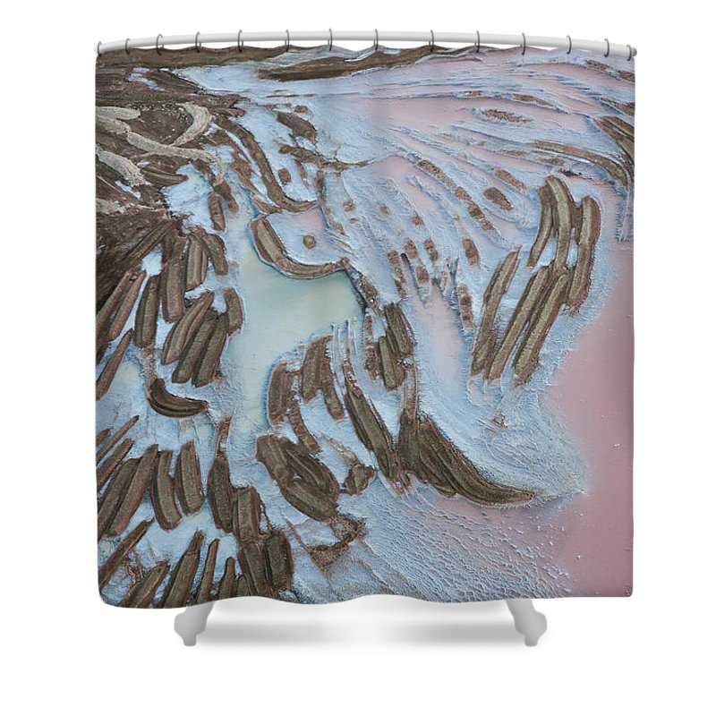 Extreme Terrain Shower Curtain featuring the photograph Aerial View Of Salt Works Namibia by Peter Adams