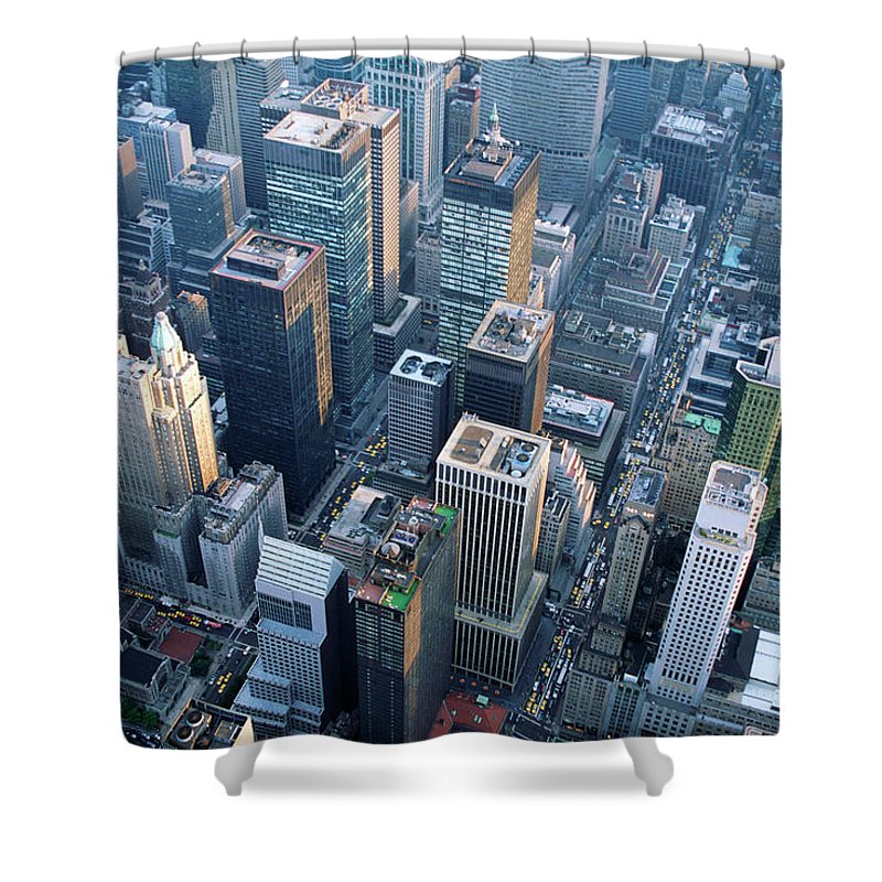 Built Structure Shower Curtain featuring the photograph Aerial View Of Skyscrapers In New York by Jupiterimages