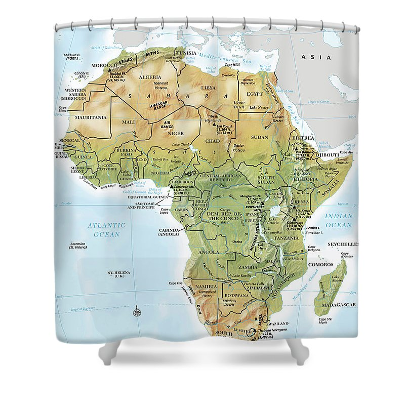 Topography Shower Curtain featuring the digital art Africa Continent Map With Relief by Globe Turner, Llc