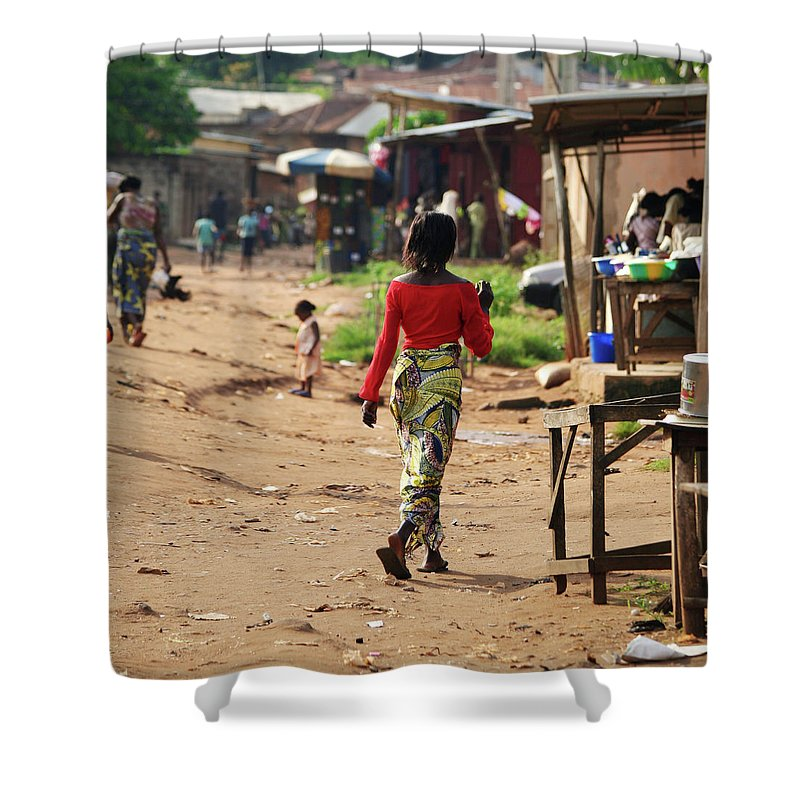 Trading Shower Curtain featuring the photograph African Street Scene by Peeterv