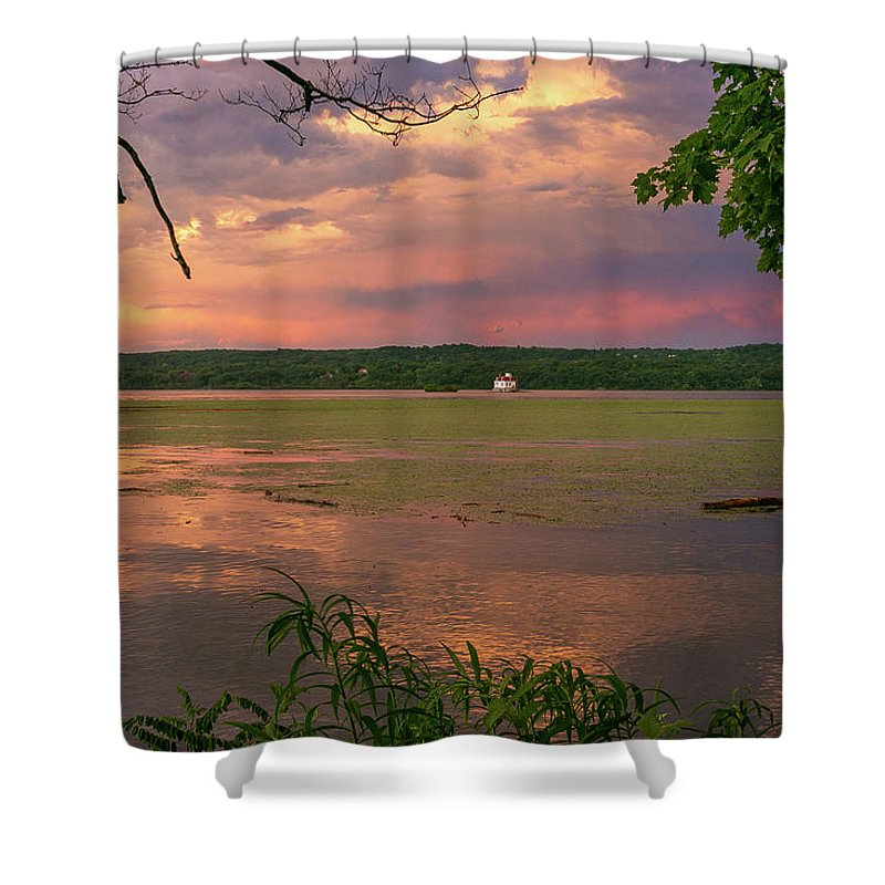 Esopus Lighthouse Shower Curtain featuring the photograph After A June Thunderstorm II by Jeff Severson