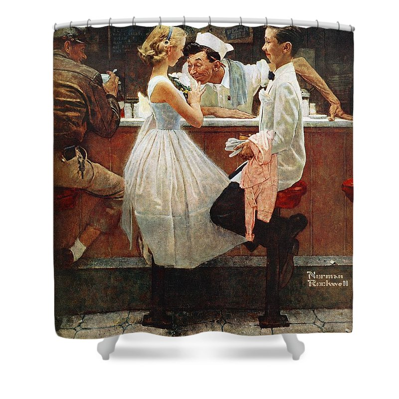 Corsage Shower Curtain featuring the drawing After The Prom by Norman Rockwell