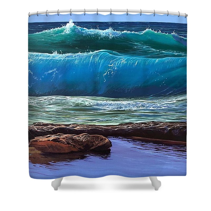 Puerto Vallarta Shower Curtain featuring the painting Aguas de Marco by Hunter Jay
