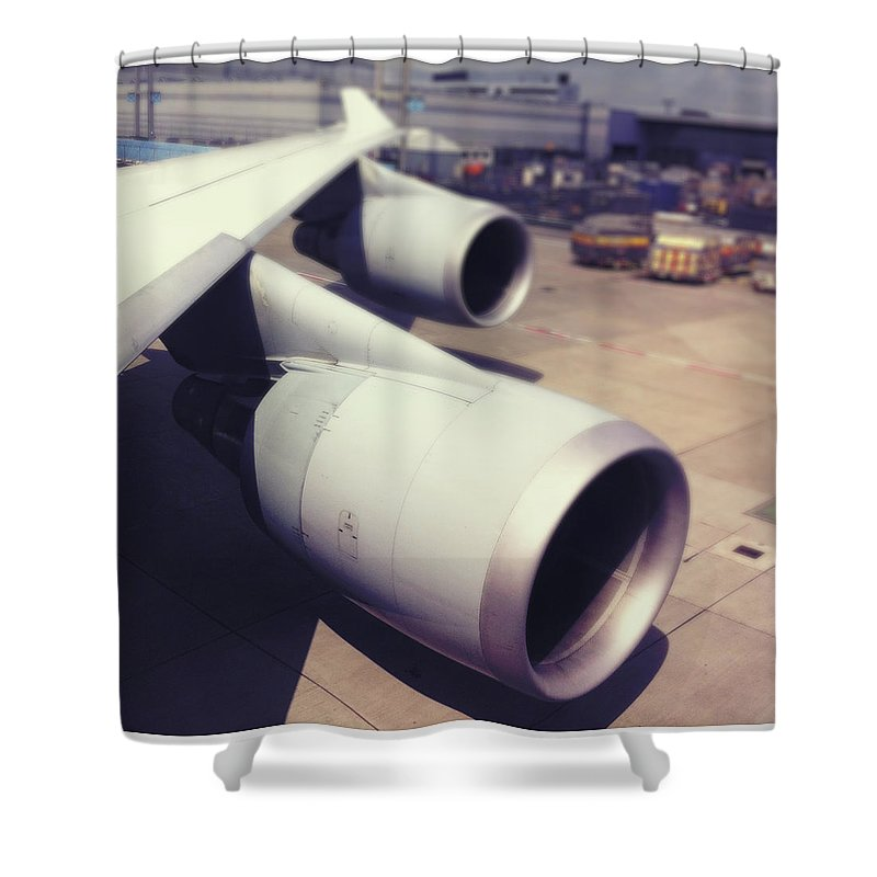 Transfer Print Shower Curtain featuring the photograph Aircraft Engines by Ixefra