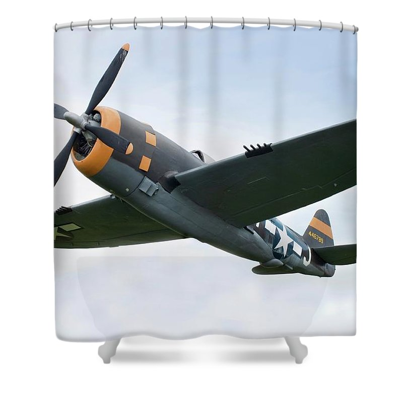 Air Attack Shower Curtain featuring the photograph Airplane P-47 Thunderbolt From World by Okrad