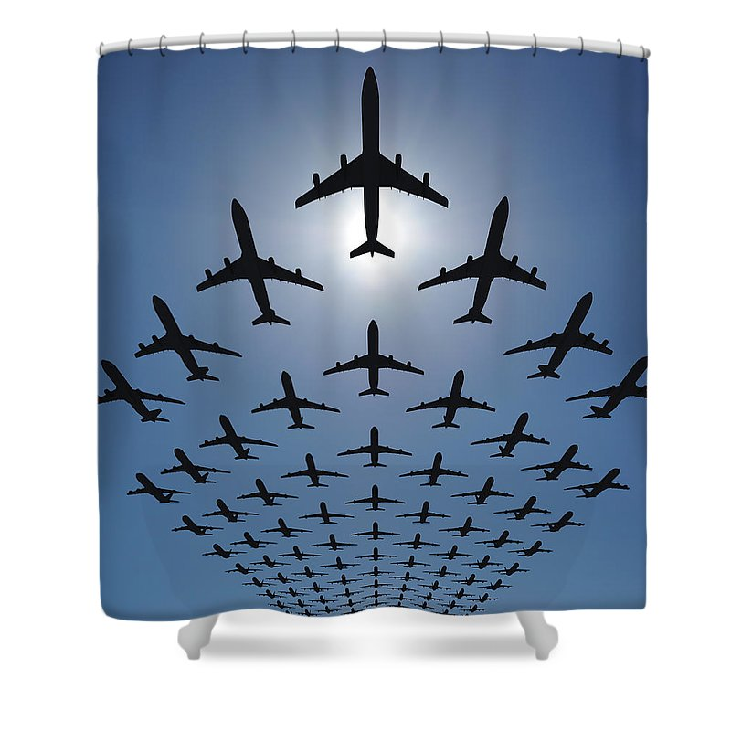 Expertise Shower Curtain featuring the photograph Airplane Silhouettes Fly In V Formation by Georgo