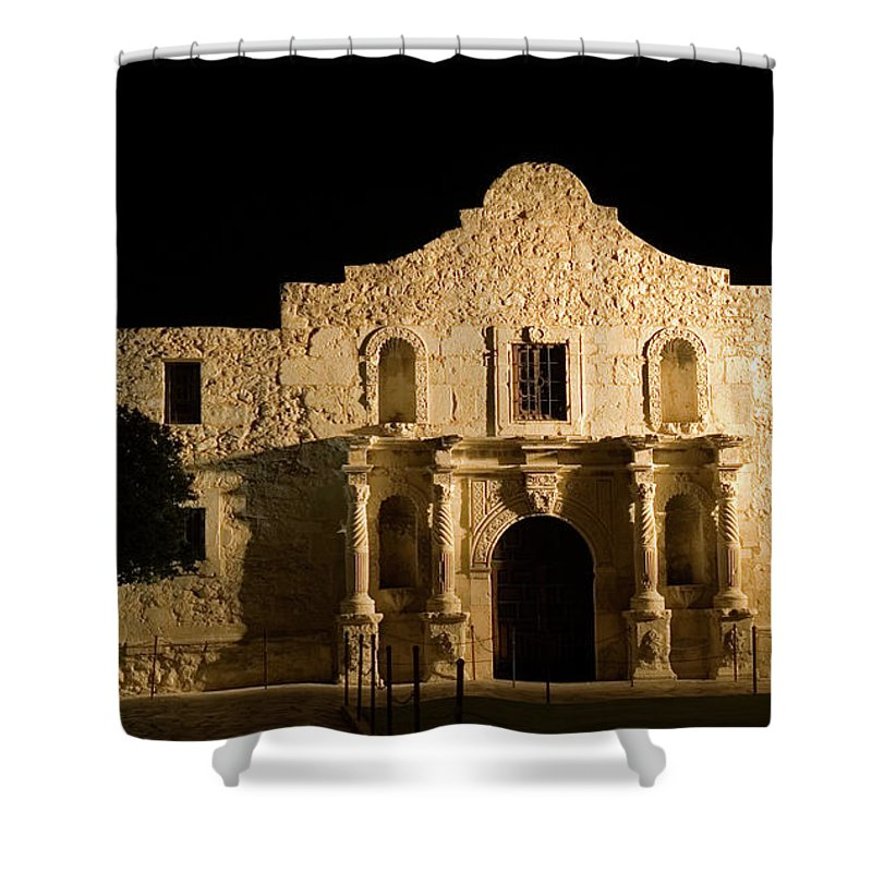 Castle Shower Curtain featuring the photograph Alamo At Night by Gwmullis
