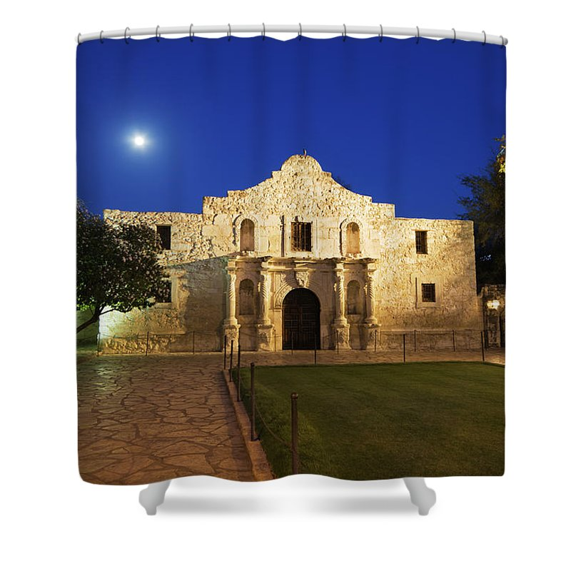 War Shower Curtain featuring the photograph Alamo Mission, San Antonio, A Famous by Yinyang