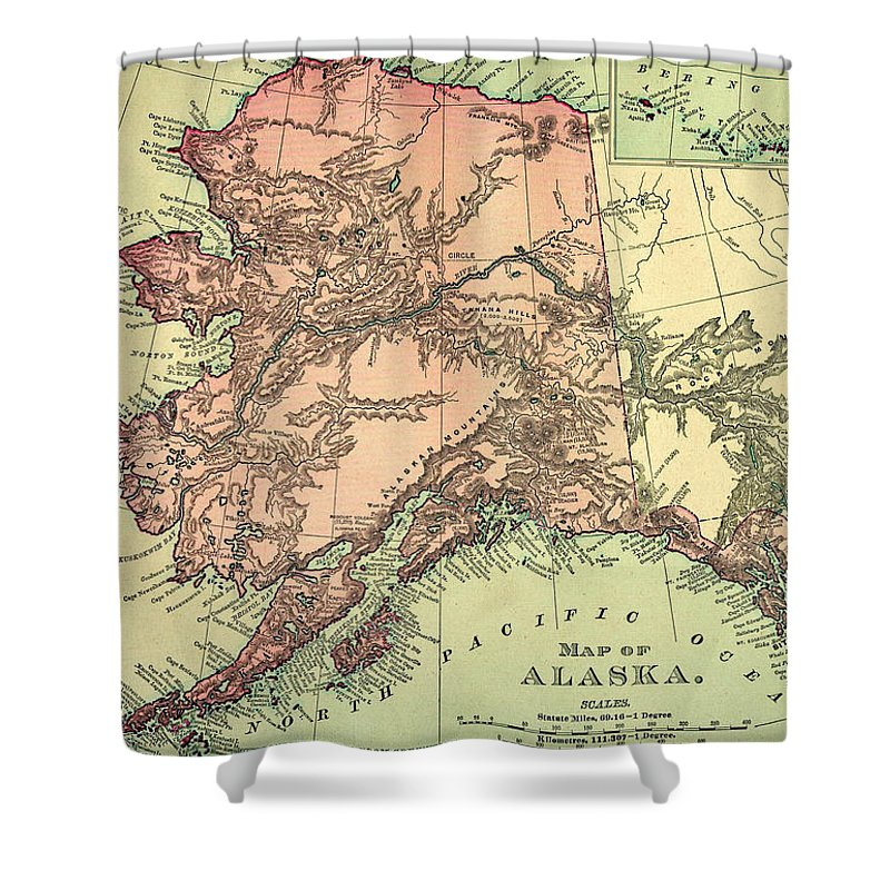 Engraving Shower Curtain featuring the digital art Alaska Old Map by Nicoolay