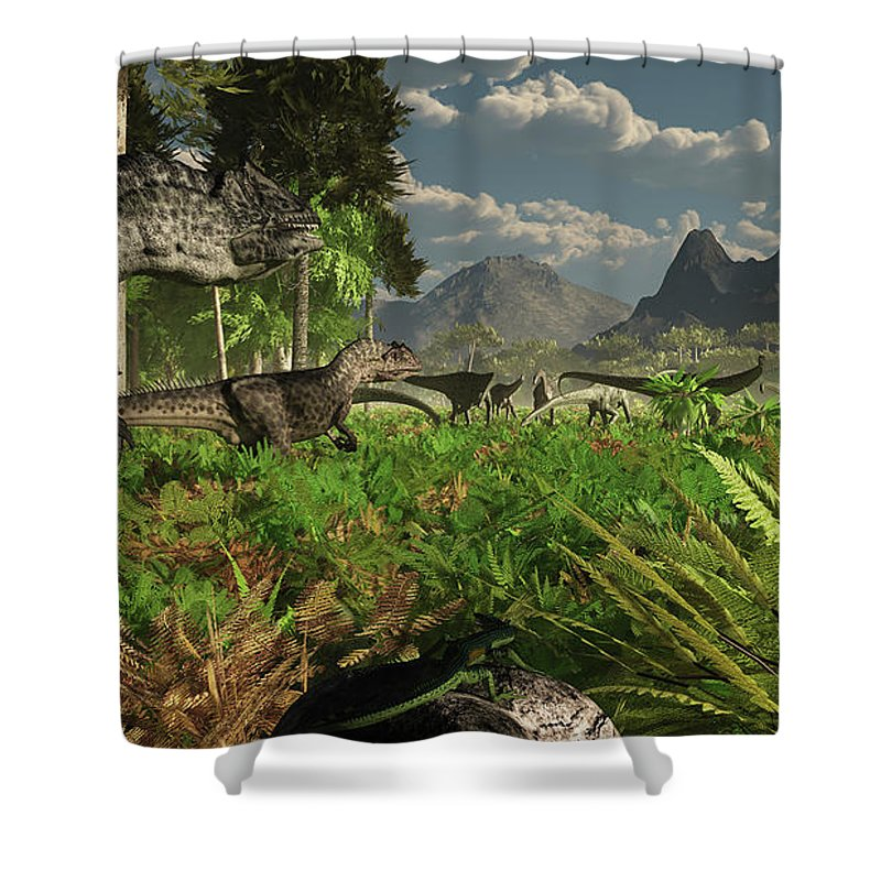 Toughness Shower Curtain featuring the digital art Allosaurus And Diplodocus Dinosaurs by Arthur Dorety/stocktrek Images