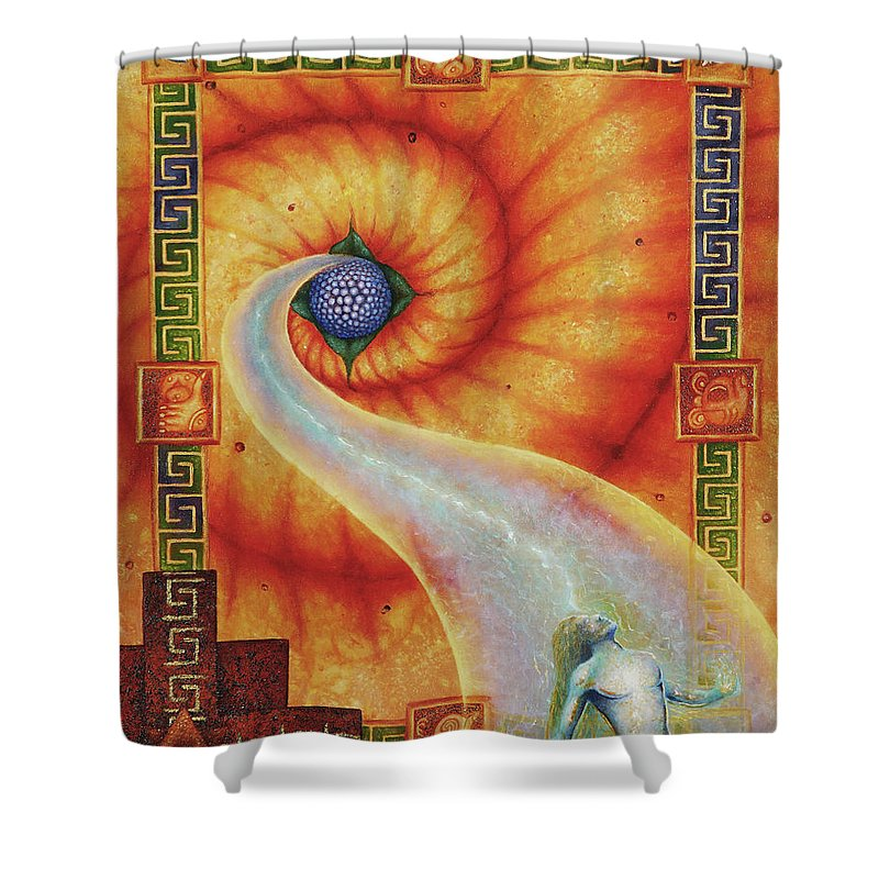 Native American Shower Curtain featuring the painting Amaizeing Grace by Kevin Chasing Wolf Hutchins