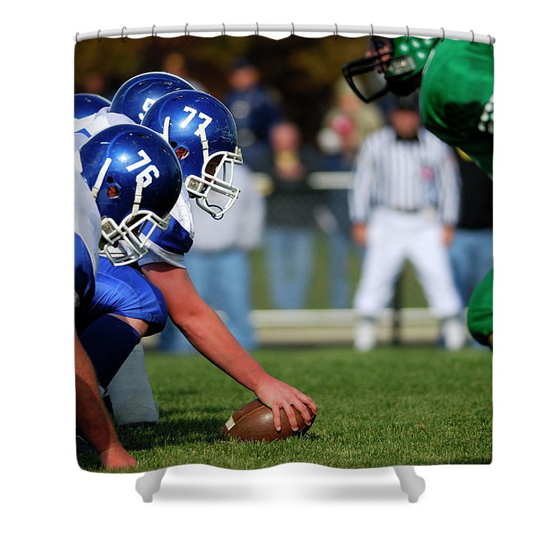 Sports Helmet Shower Curtain featuring the photograph American Football Line Of Scrimmage by Groveb