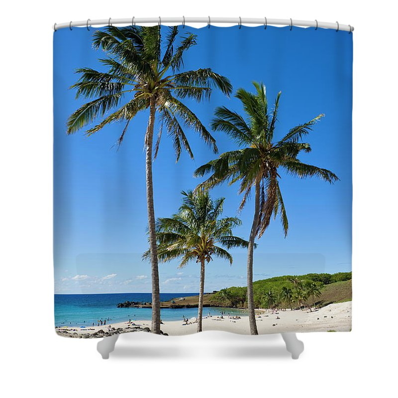 Scenics Shower Curtain featuring the photograph Anakena Beach, The Islands White Sand by Gavin Hellier / Robertharding