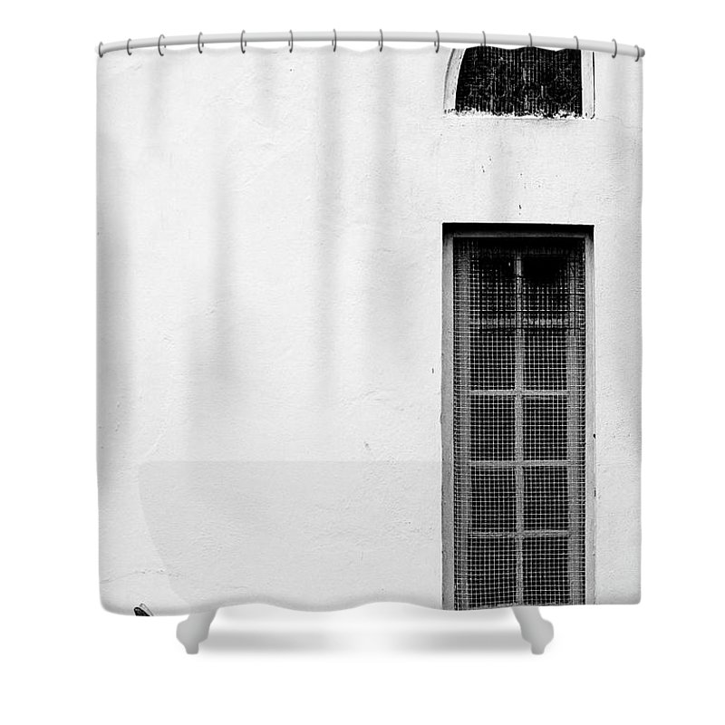 Statue Shower Curtain featuring the photograph Angel Statue In Front Of A Wall by Win-initiative/neleman