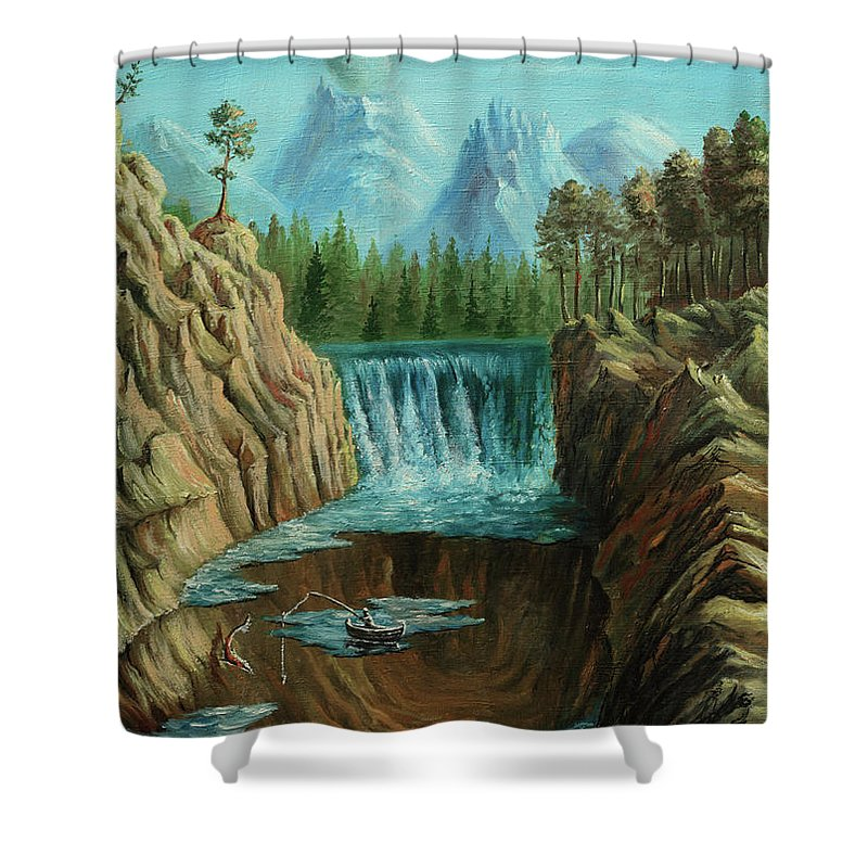 Scenics Shower Curtain featuring the digital art Angeln by Pobytov