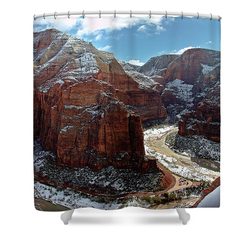 Scenics Shower Curtain featuring the photograph Angels Landing View From Top by Daniel Osterkamp